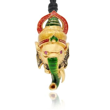 Red Stylish Ganesh Head God 24K Gold Plated 92.5 Sterling Silver Necklace Pendant Jewelry With Cotton Cord