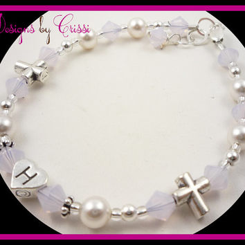 Cross Bracelet Baptism Christening First Communion  Initial Pearl Silver Crystal, chose your colors girls, baby, toddler baby gift