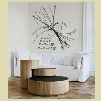 Science art physics Maxwell equations & ray of light XX-Large vinyl wall decal - science gift geekery decal
