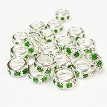 15 Green and Rhinestone Big Hole Beads, Jewelry Supply, 6x12mm Big Hole Beads,  Jewelry Findings, silver plated rhinestone spacer bead