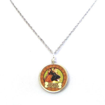 German Shepard Dog Coin Pendant Necklace dog rescue jewelry