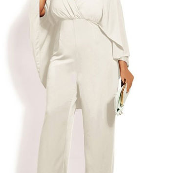 White High Waist Batwing Sleeve Chiffon Jumpsuit