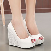 2015 Roman sandals wedge ultra-high increased open toe nightclub waterproof  thick soles white  wedding shoes