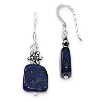 Sterling Silver Lapis & Marcasite Earrings