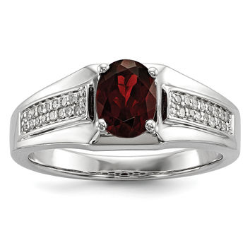Sterling Silver Garnet & Diamond Men's Ring