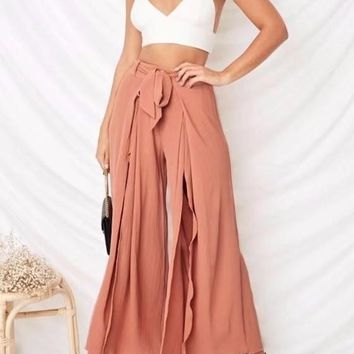 Pink Sashes Draped Double Slit High Waisted Long Wide Leg Pants