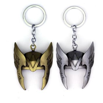 MQCHUN Marvel Comics The Avengers Superhero The God of Thunder Thor Mask Helmet Keychain Key Chain Key Ring Key Holder