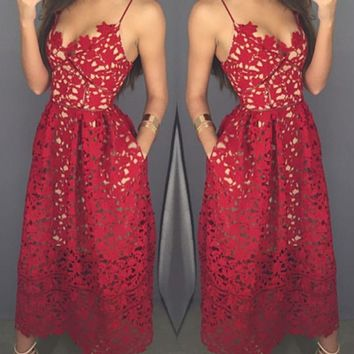 Sweetheart Neck Tea Length Red Lace Prom Dress with Spaghetti Straps, Red Lace Formal Dress, Graduation Dress