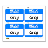 Greg Hello My Name Is - Sheet of 4 Stickers