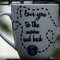 I love you to the moon and back mug, Personalized Coffee Mug, I love you gift, Husband gift, Wife Gift, Outerspace Gift