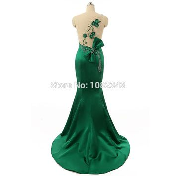 Charming Satin Mermaid Sleeveless Scoop Neck Long Prom Dresses Beading Floor Length With Flowers And Bow Prom Dresses