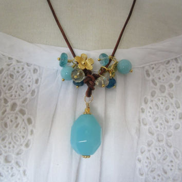 Chalcedony pendant, greek leather cord, apatite, peruvian amazonite, gold vermeil hill tribe flower charm,lemon citrine dangles, boho chic