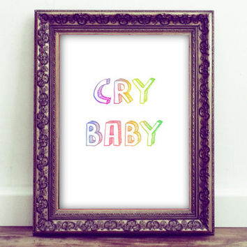 Cry Baby Printable Wall Art, Snarky Wall Art, Cry Baby Club, Kawaii Wall Art, Pastel Grunge, Pastel Goth, Teen Girl Gifts, Nursery Decor