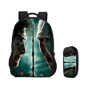 Boys bookbag trendy New VEEVANV 2 PCS/SET Backpacks for Boys Daypacks Fashion Girls Harry Potter Prints  Children Laptop Shoulder Bag Travel AT_51_3