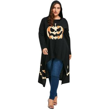 Gamiss Women Long Sleeves Big Size T Shirts Fashion Long Round Neck Tops High Low Hooded Halloween Pumpkin Tee Plus Size XL-5XL