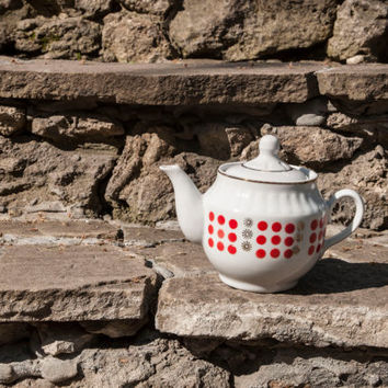 Vintage polka dot ceramic - Teapot  from the Soviet USSR 1960