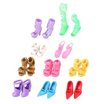 10 Pairs of Doll Shoes Colorful Multiple Styles Heels Sandals for Barbie Dolls Accessories Outfit Dolls Shoes