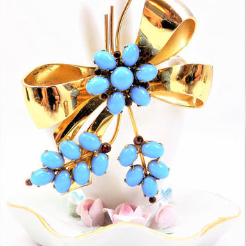 Coro Vermeil Gold Bow, Turquoise and Red Glass Stones, Signed Coro Sterling, Vintage Brooch