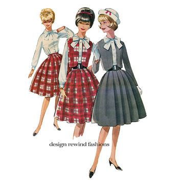 1960s McCalls 6413 Teen Girl Wardrobe Separates Pattern Rockabilly Bolero Jacket Skirt & Bow Tie Blouse Bust 34 Teen Sewing Patterns UNCUT