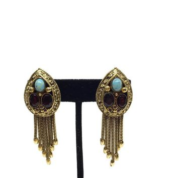 Vendome Tassel Earrings Clip On Screw Back Hybrid Faux Turquoise 4a2e393326e5