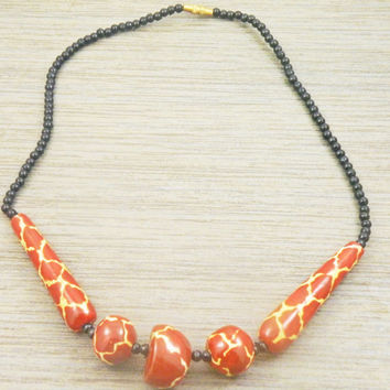 1960s Giraffe Print Necklace