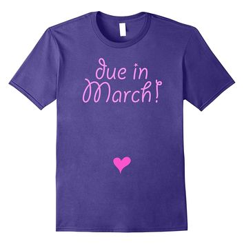 Due in March ! Cute pink t-shirt with heart on the Febr bump