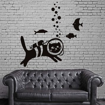 Cat And Fish Pet  Animal Funny Children Mural  Wall Art Decor Vinyl Sticker Unique Gift z715