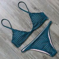 Mesh Green Two Piece Bikini Set