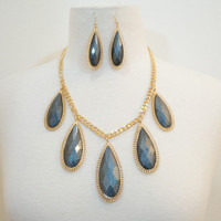 XL Tear Drop Necklace & Earring Set- Charcoal Silver