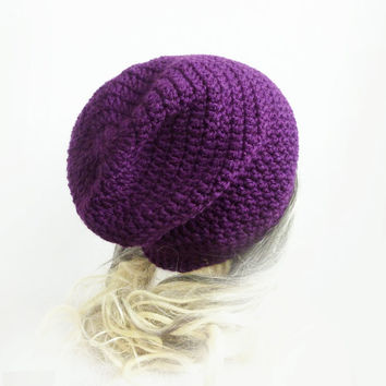 Purple Beanie Slouchy Beanie Hat Crochet Slouch Hat Baggy hat Girls Womens Teen Eggplant spring accessories
