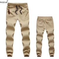 WZZAE Khaki Joggers New Fashion Casual Slim Mens Khaki Pants Chinos Fashion Track Jogger Pants Men Joggers Cotton Sweat Pants