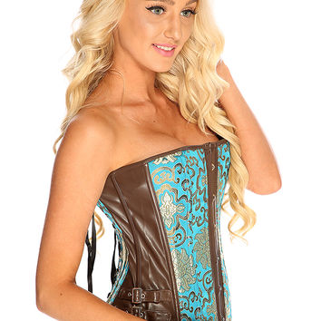 Teal Brown Shimmer Embroider Strapless Lace Up Sexy Corset