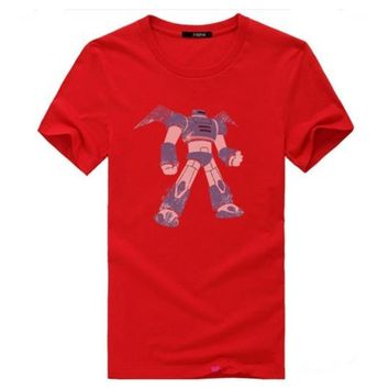 Red Big Hero 6 Mascot Baymax Logo Hiro Hamada Cosplay Costume Outfit T-Shirt Unisex Red t Shirt Cotton Sudaderas Mujer