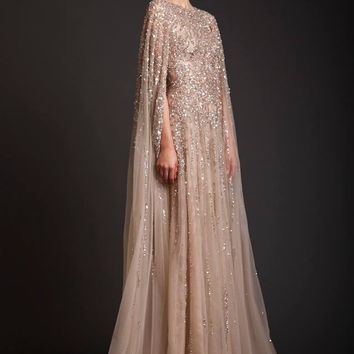 Luxury Arabia Style Long Beaded Sequined Crystal Evening Dress Dubai New Mermaid Diamond Prom Formal Dresses With Cape Abiye E13
