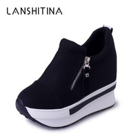 New Spring 2018 Women Wedge Casual Shoes Zipper Height Increasing Breathable Black Women Summer Walking Flats Trainers Shoes