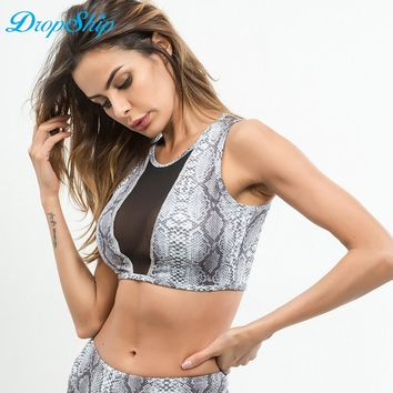 Dropship Spring New Fashion Mesh Cotton Women's Fitness Suits Crop Hollow Out Camisole Tank 2018 Workout Snake Skin Printed Top