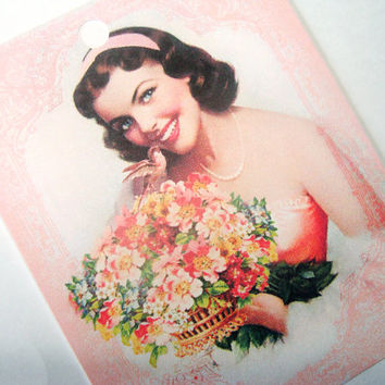 Woman In Peach With Bouquet  Gift Tags Set of 6 Vintage Inspired Bridesmaid Wedding