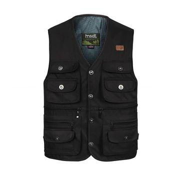Summer Thin Button Vest With Many Pockets For Men Classic High Quality Black Green Outerwear Photographer Work Sleeveless Jacket