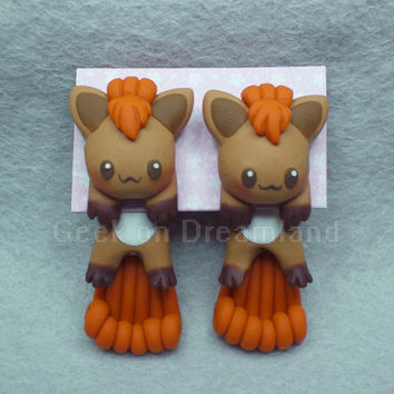 Vulpix Pokemon Handmade Clinging  Earrings