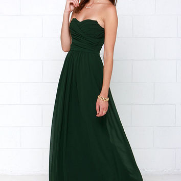 Royal Engagement Strapless Dark Green Maxi Dress