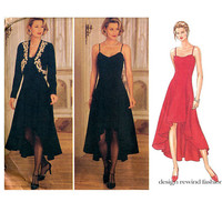 Sexy EVENING GOWN PATTERN Hi Low High Low Dress & Jacket Butterick 3758 Size 12 14 16 Prom Mother of the Bride Dress Womens Sewing Patterns