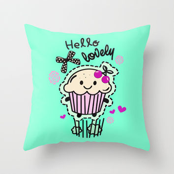 Hello Lovely Cartoon Cupcake.  Throw Pillow by Kristy Patterson Design