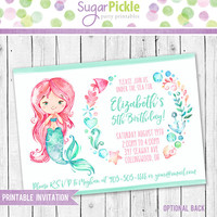Mermaid Invitation, Mermaid Birthday Invitation, Mermaid Party, Mermaid party Invitation, Mermaid Birthday party Printable invitation