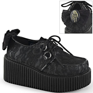 Demonia Black Lace Skull Creepers