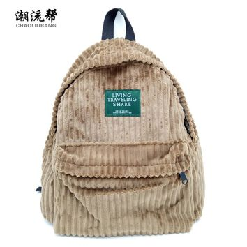 CHAOLIUBANG Vintage Women Backpack Solid Corduroy School Backpacks For Teenage Girls Casual Travel Daypack Mochila Rucksack Bag