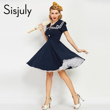 Sisjuly women vintage dress 1950s nautical style summer retro dark blue dress cotton sailor collar button vintage elegant dress
