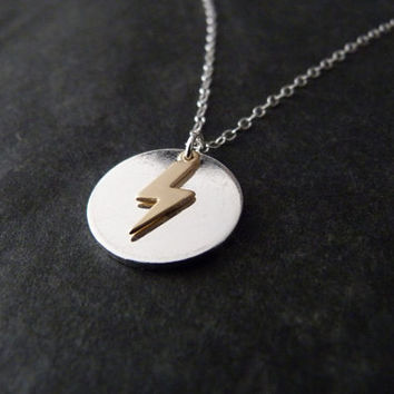 Gold lightning bolt necklace with sterling silver chain, lightning bolt jewelry, magic, lightning strike, lightening bolt