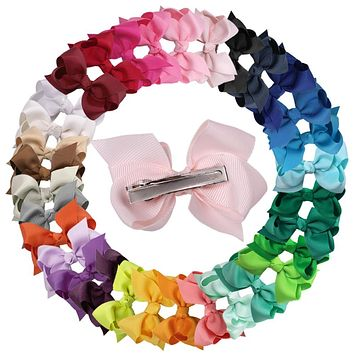 3 inch 32pcs/lot High Quality Grosgrain Ribbon Hair Bows for Christmas Children Hair Accessories Girl's Bows with Clip