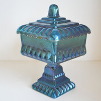 Blue Carnival Glass, Tall Candy Dish.