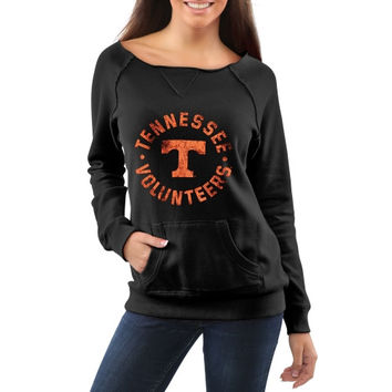 Tennessee Volunteers Women's Roundhouse Too Junior Vintage Boatneck Sweatshirt - Black